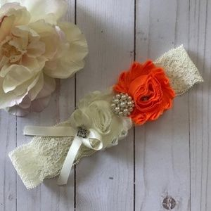 🍁 Handmade Orange Rhinestone & Lace Garter
